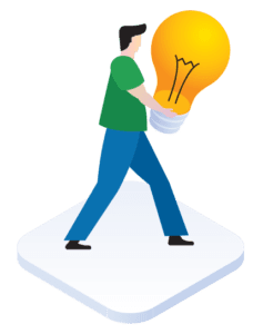 Illustration of a man walking with a lightbulb